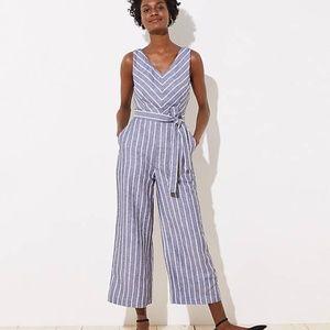 NWT LOFT Women's Striped Tie Waist Jumpsuit